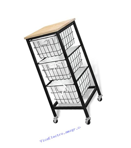 Bintopia 3 Drawer Wire Storage Cart, Natural Top