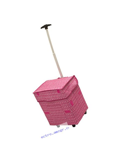 Smart Cart, Pink Arches Rolling Multipurpose Collapsible Basket Cart Scrapbooking