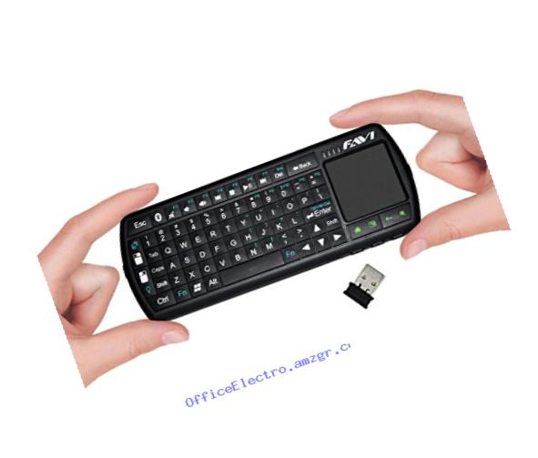 Universal Wireless Bluetooth Mini Keyboard Controller with Laser Pointer, Backlit Keys and Rechargeable Battery by FAVI