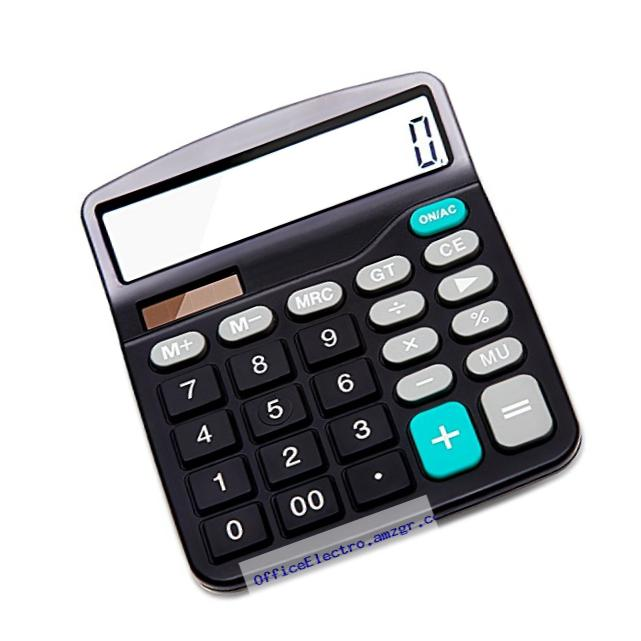 Everplus Calculator Electronic Desktop Calculator with 12 Digit Large Display, Solar Battery LCD Display Office Calculator, Black